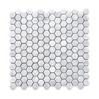 "12""x12"" Carrara White Hexagon Mosaic Tile Honed, Chip Size: 1"""