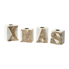 Rustic Garden Supplies - Xmas Candle Blocks, Set of 4 - Holiday Accents and Figurines
