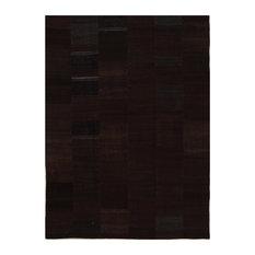 Kelim Stripe Handwoven Rug, Brown and Sand, 225x310 cm
