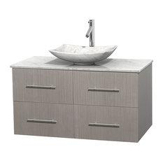 """Centra 42"""" Gray Oak Bathroom Vanity Carrera Marble Top, Arista Carrera Marble"""