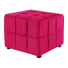 Loft Lyfe Kye Velvet Allover Tufted Cube Ottoman Pink