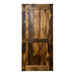 Reclaimed Oak, Clear Coat, Midrail Style Barn Door, 40x85