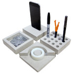 """ILoveHandles - Slabs - Slabs are modular, low-lying desk accessories made with smooth concrete, hand sanded and sealed. There's a tray for pins and clips, a pen stand, a tape dispenser, and a dock. Each piece is 4"""" x 4"""" and 1"""" tall."""