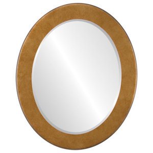 """Avenue Framed Oval Mirror in Burnished Gold, 15""""x19"""""""