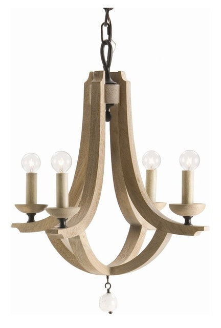 Exceptional Arteriors 89411 Manning Small 4l Wood/Crystal Chandelier