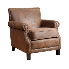 Abbyson Living Chloe Leather Club Chair, Antique Brown