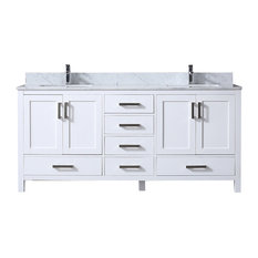 "72"" Double Vanity With White Carrera Marble Top, White"