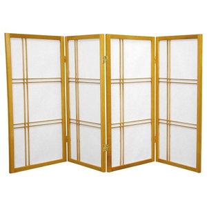 3' Tall Double Cross Shoji Screen, Honey, 4 Panels
