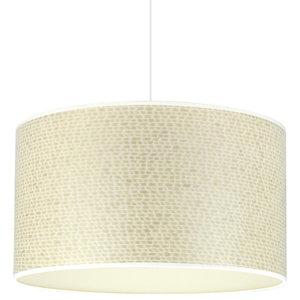 Cream Weave and Ivory Wood Veneer Drum Lampshade, 40 cm