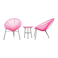 Acapulco Chairs and Table 3-Piece Outdoor Set, Pink