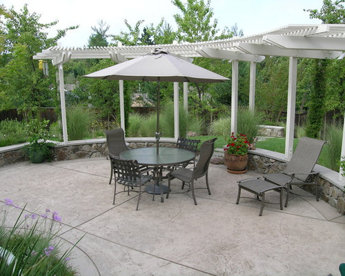 Stamped concrete patio with pergola ideas, pictures, remodel and decor