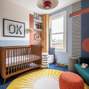 This is an example of a contemporary kids' bedroom in London.