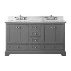 "Audrey Vanity Set, Sapphire Gray, 60"", Brushed Nickle Hardware, Carrara White Ma"