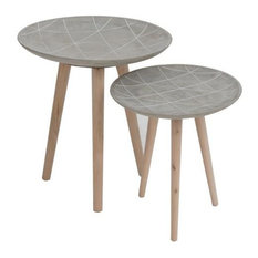 Line Side Tables, Cement Grey, Set of 2