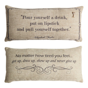 Liz Taylor Tough Women Quote Pillow With Removable Wine Glass Pin