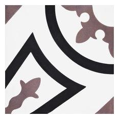 "8""x8"" Ozod Handmade Cement Tile, Black/Purple, Set of 12"