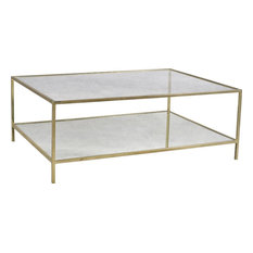 DOVETAIL LEONE Coffee Table Shiny Brass Iron Glass Top Mirror Shelf 1