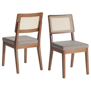Manhattan Comfort Pell 2-Piece Dining Chair in Grey and Maple Cream