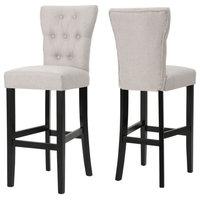 GDF Studio Padma Tufted Back Fabric Barstools, Wheat, Set of 2