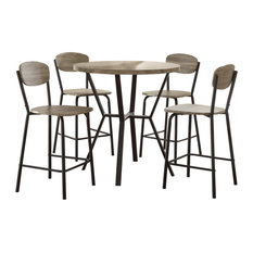 Wood And Metal 5 Piece Counter Height Dining Set Gray/Black