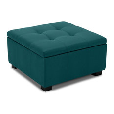 Upholstered Squared Storage Ottoman, Blue