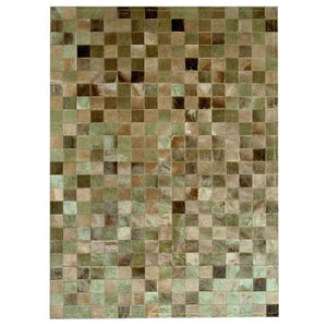 Patchwork Leather Cubed Cowhide Rug, Green Multi Tones, 140x200 cm