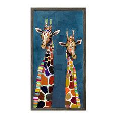 """Two Giraffes on Blue"" Mini Framed Canvas by Eli Halpin"