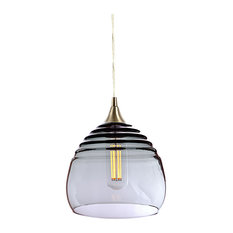 Lucent Pendant No. 302b, Gray Glass Shade, Brushed Nickel Hardware