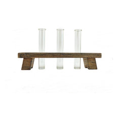 Three Glass Tube Bud Vases w/ Rustic Wood Holder - Flower Vases