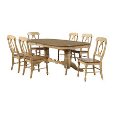 Sunset Trading 7 Piece Brook Double Extendable Dining Set Napoleon Chairs