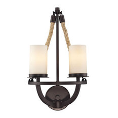 """Wall Sconce 2-Light With Aged Bronze Finish, Candelabra, 11"""""""