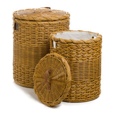 Round Wicker Hamper, Toasted Oat, Nested Set of 2