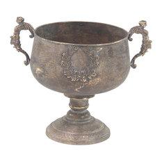 "Rustic Iron Chalice-Style Urn Planter, 14"""