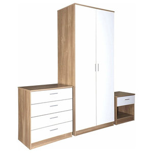 3 Piece Bedroom Furniture Set with 2 Door Wardrobe, 4 Drawer Chest and Bedside