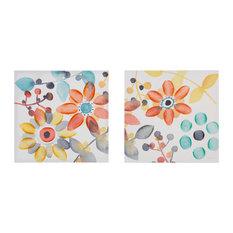 Intelligent Design 2-Piece Sweet Florals Canvas With Hand Embellishment Set