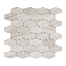 Cooper Long Hexagon Mosaic Wall and Floor Tile, Wooden White Marble, Set of 10
