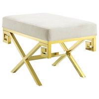 Velvet Bench, Gold and Ivory