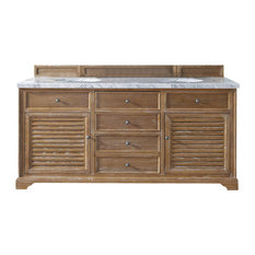 "Savannah 72"" Driftwood Double Vanity w/ 4cm Carrara White Marble Top"