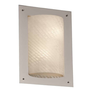 Matte Black Finish with Bamboo Faux Porcelain Resin Shade Justice Design Group Porcelina 2-Light Fluorescent Wall Sconce