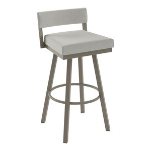 Amisco Travis Swivel Stool, Matte Light Grey/Pale Grey Polyester, Counter Height