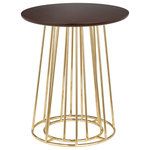 TMS - angelo:HOME Yvonne Side Table, Walut-Gold - Jazz up your family room with this Angelo side table. This table is made using metal and wood so it's strong and durable, and it features goldtone-finished legs for an elegant appearance.
