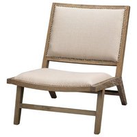 Accent Chair, Beige and Brown, Wood and Linen, Eastern