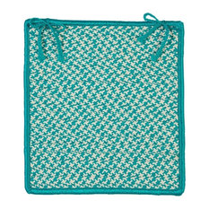 Outdoor Houndstooth Tweed, Turquoise Chair Pad