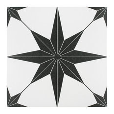 """SomerTile - 9.75""""x9.75"""" Cilento Porcelain Floor and Wall Tile, Set of 16, Nero - Wall and Floor Tile"""