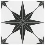 "SomerTile - 9.75""x9.75"" Cilento Porcelain Floor and Wall Tile, Set of 16, Nero - Pieces Per Case: 16"