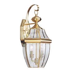 Sea Gull Lighting 2-Light Outdoor Lantern, Polished Brass