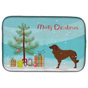 Irish Wolfhound Merry Christmas Tree Dish Drying Mat