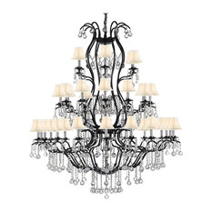 Swarovski Trimmed Chandelier Withwhite Shades