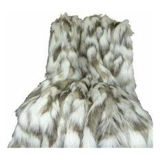 Plutus Tibet Faux Fox Handmade Throw Blanket, 48 X 60