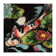 White, Orange, and Black Koi Fish Tile